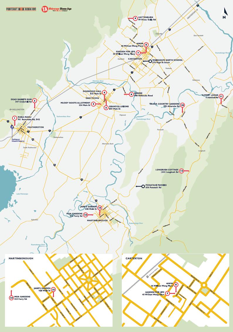 Map Wairarapa Garden Tour 2020 Image